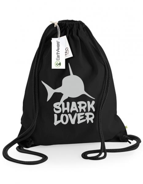 Juterucksack Beutel Shark Lover schwarz