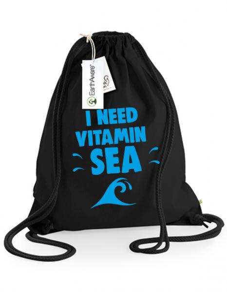 Juterucksack Beutel Vitamin Sea schwarz