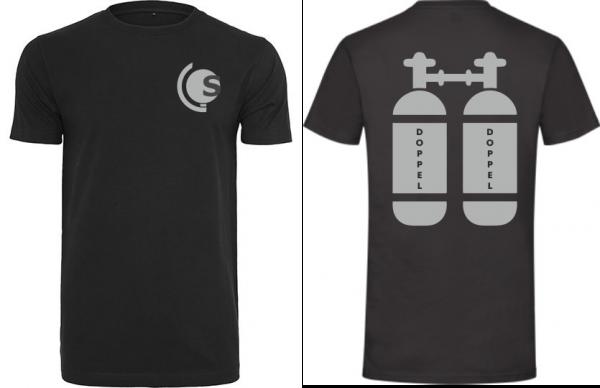T-Shirt Doppel-Tauchflasche schwarz