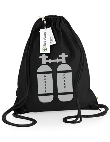 Juterucksack Beutel Doppel-Tauchflasche schwarz