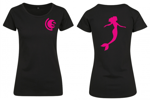 T-Shirt Damen Meerjungfrau schwarz